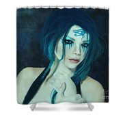Loving Blue Hair Shower Curtain
