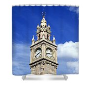 Low Angle View Of A Clock Tower, Albert Shower Curtain