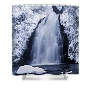 Low Angle View Of A Waterfall, Glenoe Shower Curtain