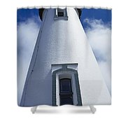 Low Angle View Of Lighthouse Shower Curtain