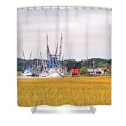 Low County Marsh View Shrimp Boats Shower Curtain