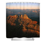 Low Sunlight Shines On Mountains Shower Curtain