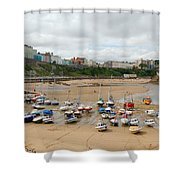 Low Tide At Tenby Shower Curtain