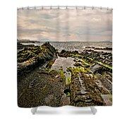 Low Tide Rocks Shower Curtain