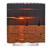 Red Maritime Dream Shower Curtain