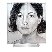 Lucy Liu Portrait Shower Curtain