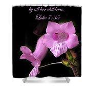 Luke 7 35 Pink Penstemon Flower Shower Curtain