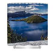 Luminous Crater Lake Shower Curtain