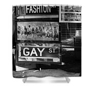 Lunch Time Between Fashion Ave And Gay St In Black And White Shower Curtain by Rob Hans