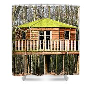 Luxury Tree House In The Woods Shower Curtain