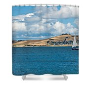 Luxury Yacht Sails In Blue Waters Along A Summer Coast Line Shower Curtain