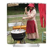 Lye Soap Maker At Work Shower Curtain