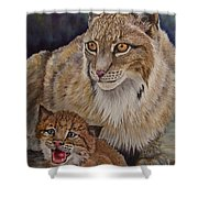 Lynx Mom And Baby Shower Curtain