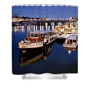 Maastricht Jetty On Maas River Shower Curtain
