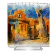 Mabel's Gate Watercolor Shower Curtain
