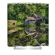 Mabry Mill And Pond With Reflection Shower Curtain
