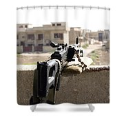 Machine Gun Post At A Prison Shower Curtain
