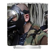 Machinist's Mate Helps Another Sailor Shower Curtain by Stocktrek Images