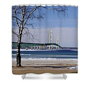 Mackinac Bridge With Trees Shower Curtain