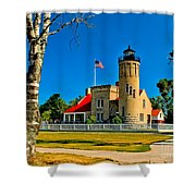 Mackinac Point Light Shower Curtain