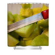 Macro Photo Of Knife Over Bowl Of Cut Musk Melon Shower Curtain