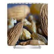 Macro Shots Of Various Dry Fruit Items Such As Almonds And Walnuts And Raisins Shower Curtain