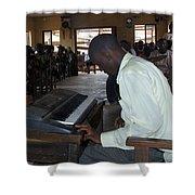 Madona Playing Piano In Nigerian Church Shower Curtain
