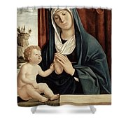 Madonna And Child - Late 15th To Early 16th Century  Shower Curtain by Giovanni Battista Cima da Conegliano