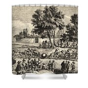 Magdeburg Hemispheres, 17th Century Shower Curtain