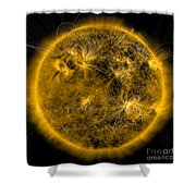 Magnetic Field Lines On The Sun Shower Curtain