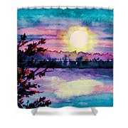 Maine October Sunset Shower Curtain