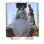 Maintainers Prepare A Sukhoi Su-30 Shower Curtain