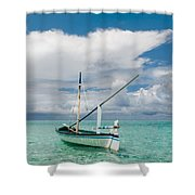 Maldivian Boat Dhoni On The Peaceful Water Of The Blue Lagoon Shower Curtain