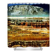 Mammoth Terrace - Yellowstone Shower Curtain by Ellen Heaverlo