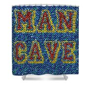 Man Cave Bottle Cap Mosaic Shower Curtain by Paul Van Scott