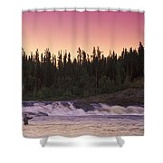 Man Fly-fishing In River Shower Curtain