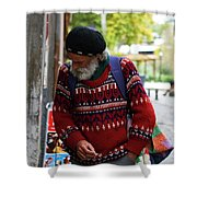 Man In A Red Sweater Shower Curtain