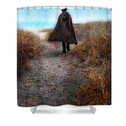 Man In Cape And Top Hat By The Sea Shower Curtain