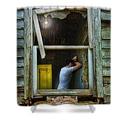 Man In Ruined House Shower Curtain
