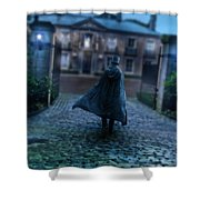 Man In Top Hat And Cape On Cobblestone Street Shower Curtain