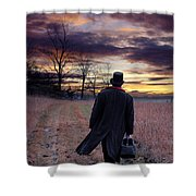 Man In Top Hat With Bag Walking Shower Curtain
