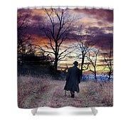 Man In Top Hat With Cane Walking Shower Curtain