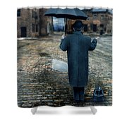 Man In Vintage Clothing With Umbrella On Rainy Brick Street Shower Curtain
