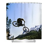 Man Jumping On His Mountain Bike Shower Curtain