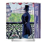 Man On A Balcony On Boulevard Haussmann Shower Curtain