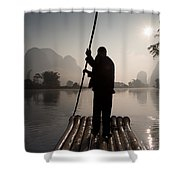 Man On Raft In Mountain Area Yulong Shower Curtain