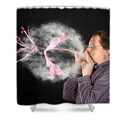 Man Over Inflating A Balloon Shower Curtain