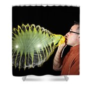 Man Over-inflating Balloon Shower Curtain