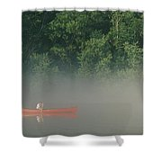 Man Paddling Canoe In Mist, Roanoke Shower Curtain