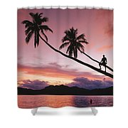Man, Palm Trees, And Bather Silhouetted Shower Curtain